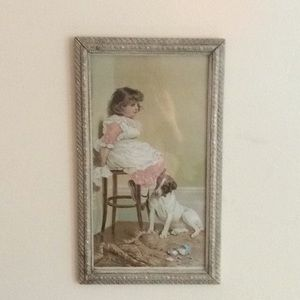 Girl and dog framed picture